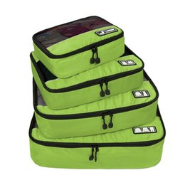 "Wholesale-2016 New Breathable Travel Bag 4 Set Packing Cubes Luggage Packing Organizers with Shoe Bag Fit 23"" Carry on Suitcase"