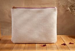 Wholesale Eco Grey white linen cosmetic Bags DIY blank plain zipper makeup bag phone clutch organizer bags Gift travel storage cases pencil pouches