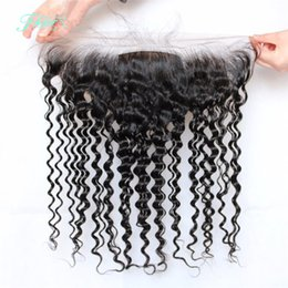 Brazilian Hair Deep Curly Silk Base Lace Frontal 13x4 Inch Length Hair Free Middle 3 Part Frontal No Shedding No Tangle