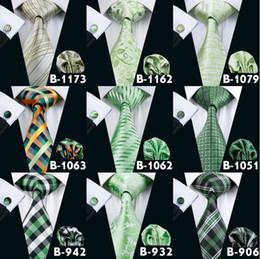 Cheap Green Neck Tie Set For Men Bussiness Party Formal Floral Necktie Mens Brand Ties High Qualtiy Tie Hanky Cufflinks Set
