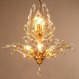 Wholesale American Style led chandeliers crystal lamps E14 light source with light source energy saving easy installation CE ROHS FCC