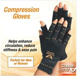 Wholesale Unisex Arthritis Gloves Copper Hands Gloves Therapeutic Compression Mittens Sports Health Care Half Gloves With Logo Package B705