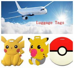 Wholesale Poke Pikachu Luggage Bag Tags Silicone Cartoon Travel Luggage Suitcase Name Travel Tag ID bag Tag poke ball Airlines Baggage Labels LJJK509