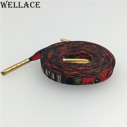 Wholesale Wellace silk screen printing Flat Plum blossom Designer Shoelaces sneakers tennis Shoe Lace Polyester Strings cm