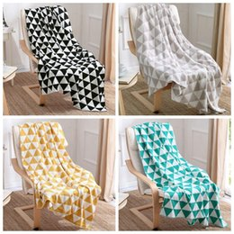 Wholesale LJJG126 cm Super soft triangle pattern crochet nap blanket children kids baby Swaddle Wrap soogan Fleece blanket throw blanket
