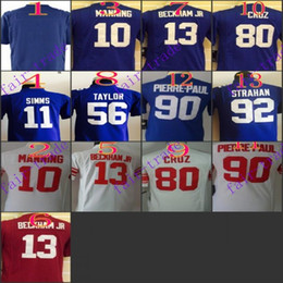 Wholesale Youth NIK Game Football Stitched Giants Blank Manning Simms Beckham Jr Taylor Red White Blue Jerseys Mix Order