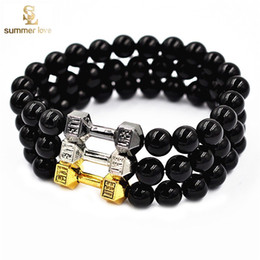 Wholesale 2016 Newest Buddha Meditation Natural Stone Jewelry Size mm Unisex Metal k Plated Barbell Bracelet Bead Fitness Fit Life Prayer Dumbbell