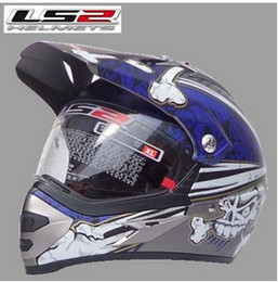 Wholesale-LS2 MX433-3 off-road dual lens wear and off-road helmet helmet full helmet Dumb Deep Silver   Blue Skull S M L XL XXL