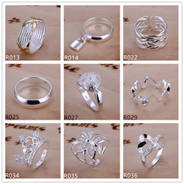 Plated sterling silver ring 10 pieces a lot mixed style EMR5,brand new burst models fashion 925 silver plate ring