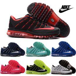 2016 Shoes Run Air Max Nike Air max 2016 Running Shoes Men Women Sneakers High Quality Original Discount Walking KPU Black Red Sports Shoes Size 5.5-13 Shoes Run Air Max for sale