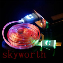 Wholesale LED Visible Flat Micro USB V8 Charger Cable M for Samsung Galaxy S6 S7 Data Smile Light Up Flashing Rubber Cord Universal