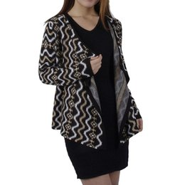 Wholesale Women Fashion Cardigan Knitted Sweater Dress Geometric National Jacquard Weave Long Sleeve Irregular Garments X Large Loose Coat