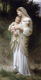 Wholesale Sheep Wall Decor - Virgin Madonna & child Christ sheep, Pure Hand-painted Portrait Art oil painting on canvas For Wall decor in any size customized