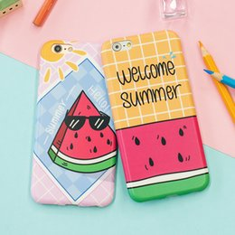 Wholesale Original Cartoon Watermelon Design cases for iPhone6 s plus splus ultra thin soft Silicon TPU Backcover Cell Phone Case