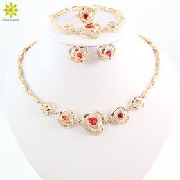 Crystal Jewelry Dubai 18K Choker Collar Statement Necklace Earrings Sets Gold Plated Women Party Jewelry Sets