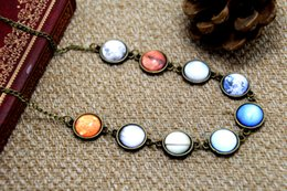 Wholesale 6pcs Solar System Necklace glass dome necklace galaxy Space Universe statement necklace