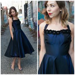 Navy Blue Tea Length Evening Dresses 2016 A Line Halter taffeta handmade flower 1905's Style vintage Formal Prom Party Dresses