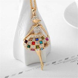 Wholesale Long Swarovski Necklace - Premium Pendant Long Necklace Dancing Girl Swarovski Elements Crystal 18K Gold Plated Fashion Women Jewelry Stunning Design JIN005