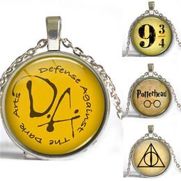 Wholesale Harry Potter Necklace Platform Hogwarts Express Pendant Book jewelry Glass Cabochon long Necklace gift for children