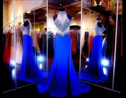 Wholesale 2016 Royal Blue Mermaid High Neck Prom Dresses With Beaded Crystal Side Split Back Sheer Tulle Rode de Soirre Formal Chiffon Evening Gowns
