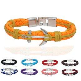 Wholesale Sailor Bracelets Wholesale - Solid Bracelets Men Women Silver Anchor Bracelet Rope Men Jewelry DIY Leather Men's Anchor Sailor Rope Bracelets