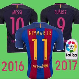 Wholesale 16 Best Quality BARCELONAIZERS shirts Soccer MESSI NEYMAR JR SUAREZ PIQUE HOME Custom shirt