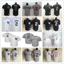 Wholesale New York Derek Jeter Gray With GMS The Boss Patch and White Pinstripes Black NY Yankees Baseball Jerseys with no name on back