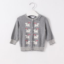 Wholesale Cat Cardigans - Hug Me Baby Girl Knitting Cardigan 2016 New Autumn Fashion Bow Embroidery Cat Warm Cardigan Sweater for Kids Clothing MK-684