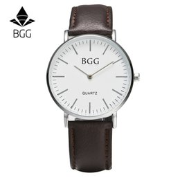 Wholesale 2016 modern business men watch simple ultra thin Leather Watchband metal shell earthquake resistance black brown grey