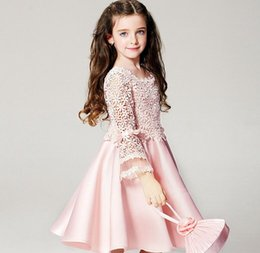 Wholesale Pink Floral Dance Company dresses years old hollow baby girl gauze skirt folds beach show clothes birthday gift B45
