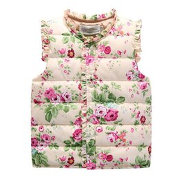 Wholesale 2016 Winter Toddler Kids Floral Print Vests Winter Waistcoat Thick Warm Vest Sleeveless Cotton Padded Overcoat Baby Boys Girls Coat