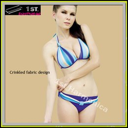 Wholesale New Womens gradient Blue Crinkled Swimwear Bikini Beachwear size L large clearance sales big bargain