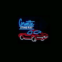 CORVETTE STING RAY Real Glass Neon Light Sign Home Beer Bar Pub Recreation Room Game Room Windows Garage Wall Sign