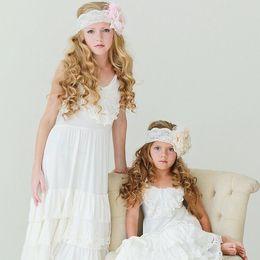 Boho White Lace Flower Girl Dress Kids White County Lace Dress Teen Girl Crocheted Flower Lace Dress