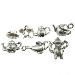 Wholesale 2set Alloy Antique Jewelry Vintage Food Tool Teapot Coffee Pot Pendant