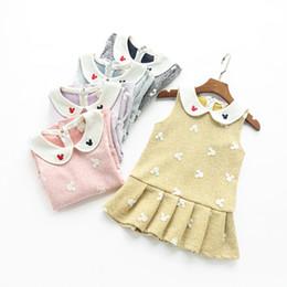 Wholesale Autumn Girls Mickey Dress sleevess Doll collar embroidery Cute pleat skirt dress girl clothing Sweet gifts Korea