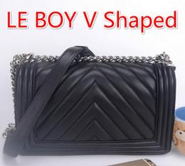 67086 V Shaped Caviar Real Leather Lambskin Sheepskin Le Boy Chain Bag Flap Silver Chain Tote Shoulder Crossbody Handbag