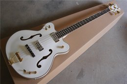 Wholesale High Quality Semi hollow Electric Bass with White Body and Frets Gold Hardware can be Customized