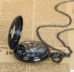 Wholesale New top sale gun black Roman numerals Vine watch Quartz Pocket Watch With Chain DIY Pendant Necklace gift