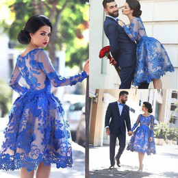 Wholesale Royal Blue Sheer Long Sleeves Lace Cocktail Dresses Scoop Knee Length A Line Short Homecoming Party Gowns Prom Dresses Custom Made