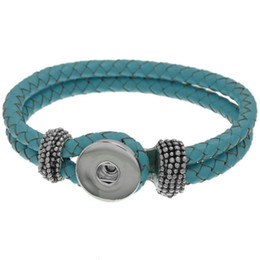 Wholesale 2016 hot sale blue real leather bracelet fashion DIY ginune snap button bracelet mm snap giner button interch