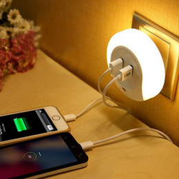 Wholesale LED Night Light with Dual USB Wall Plate Charger for iphone S7 edge nightlight outlet Charging for Hallway Bathroom Living Room Kitchen
