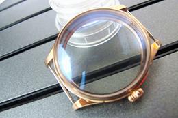 Acheter en ligne Regarder rose d'or-Livraison gratuite 44mm Polished PVD Rose Golden Montre étui en acier inoxydable Accessoires étui ETA bobinage 6497 6498 mouvements