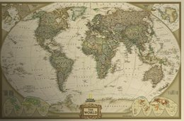 Wholesale New English World Map Wallpaper Vintage cm Retro Matte Kraft Paper Antique Poster Wall Sticker Decoration Home Outdoor Travel Map