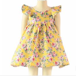 Wholesale Vintage floral ragazze del vestito del manicotto dell increspatura backless bule del fiore delle neonate vestito da estate boutique raga