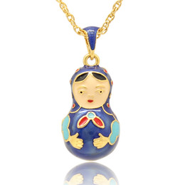 Handcrafted Enamel colors flower Russian matryoshka doll pendant necklace Faberge Egg Pendant Necklace for Easter day