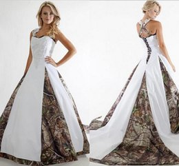 Wholesale Square Neck Camo Wedding Dresses Floor Length Patch work Beaded Lace Appliques Criss cross Corset Back Bridal Gowns Camouflage and White