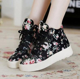 Women Shoes Fashion Canvas shoes women platform canvas floral print ankle boots shoes wedges shoe