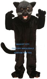 Wholesale Jet Black Panther Mascot Costume Adult Size Wild Animal Theme Carnival Party Cosply Mascotte Mascota Fit Suit Kit SW1063