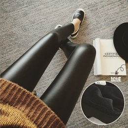 2016 New Black Leather Trousers Jeans Wool Blend Leggings Pregnancy PU Trousers New Mother Dress Maternity Bottoms Winter Autumn Trousers